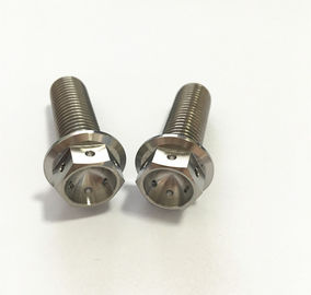 Motorcycle Parts M6 x 1.0 x 30mm Titanium Hex Head RACE Flange Drilled Bolts with Lock Safety Wire
